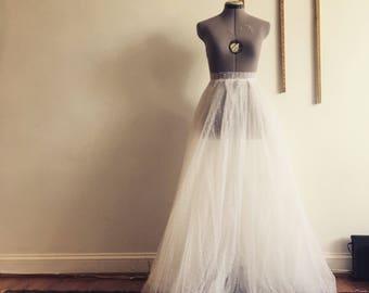 Dreamy white swiss-dot tulle wedding skirt/ Wedding dress-ready to wear