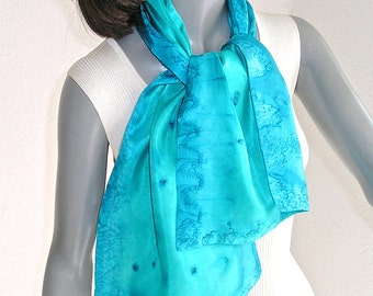 Turquoise Blue Scarf, Aquamarine Cerulean, Hand Painted Silk Scarf, Unique Hand Dyed, Artisan Handmade, Jossiani, Ready to Ship.