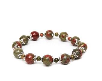 Unakite Beaded Stone Bracelet