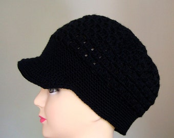 Black Crochet Women Hat, crochet Teen Hats, crochet woman Cap, Crochet Beanie