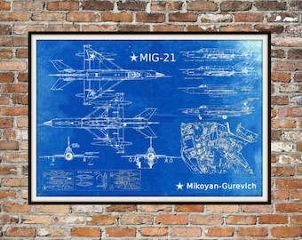 Blueprint Art of Mig-21 Mikoyan Gurevich MIG-21 Jet PlaneTechnical Drawings Engineering Drawings Patent Blue Print Art Item 0214