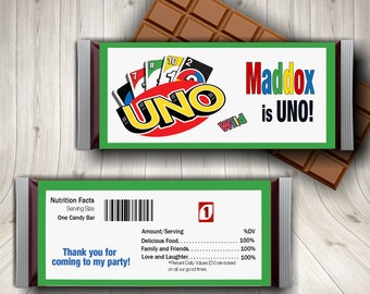 Uno Birthday Candy Bar Wrapper, 1st Birthday Party, Fiesta Party, First Fiesta, Uno Party, Game Night Uno Cards,