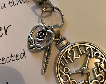 Clock, feather & heart keyring