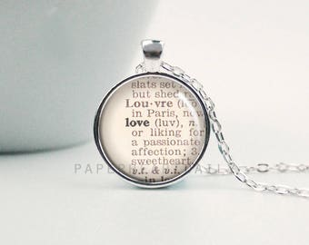 Dictionary Love Necklace - Love Pendant - Dictionary Word - Literary Wedding - Book Jewelry - Book Gifts - (B3343)