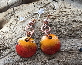Heartbeat Red & Marigold Enamelled Copper Earrings