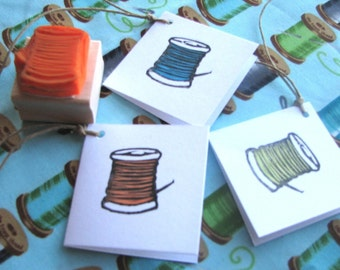 Hand Carved Spool of Thread Rubber Stamp