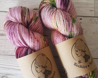 Rose Lichen ~ Barbarella ~ Merino Nylon Stellina Sock Yarn
