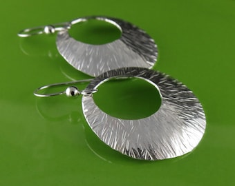 Modern Large Round Textured Silver Earrings