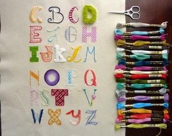 Hand Lettered Alphabet Sampler Embroidery Pattern. Sampler Series.