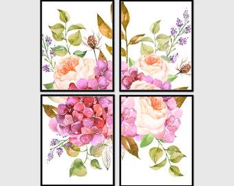 Floral print set, botanical print set, flower print set, set of 4 prints, shabby chic, flower, floral, printable, wall art, home decor