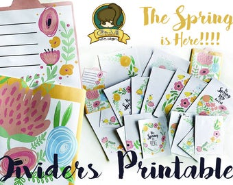 GiuVa- Spring Floreal Dividers PRINTABLE -
