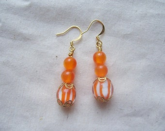 Orange Stripe Dangle Earrings