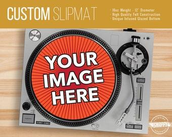 "Custom Turntable Slipmat - 12"" LP Record Player DJ Pad - 16oz Felt w/ Glazed Bottom"