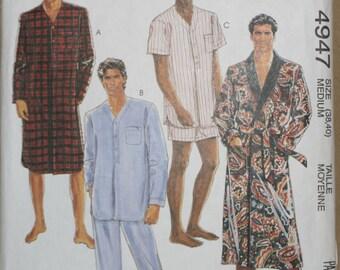 McCall's 4947 Retired Vintage Men's Robe, Pajamas, Nightshirt, Sewing Pattern  Size Medium 38,40