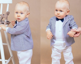 Baptism outfit Blessing suit Baby boy suit Baptism suit Ring bearer outfit Blessing outfit Toddler linen suit Baby linen outfit Linen pants