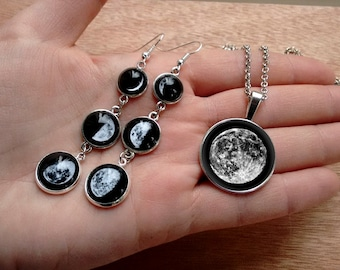 Moon phases earrins and pendant, moon earrings, moon pendant, Galaxy earrings, nebula earrings, cosmic jewelry set, moon jewelry set