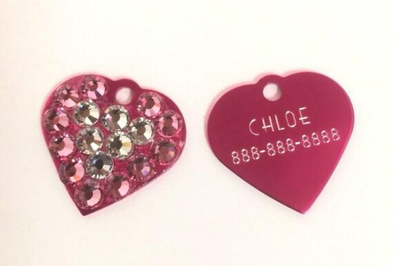 Crystal Rhinestone Dog Cat ~Small Heart~ ID Engravable Tag, 5 Fonts, Clip Art - High Quality - USA
