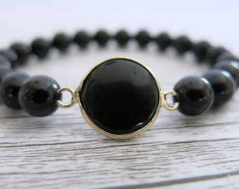 Onyx Bracelet Gemstone 8mm Bead Gemstone Stretch Bracelet Faceted