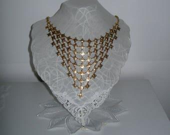 Exquisite mesh necklace, evening necklace, Avant garde, golden, vintage