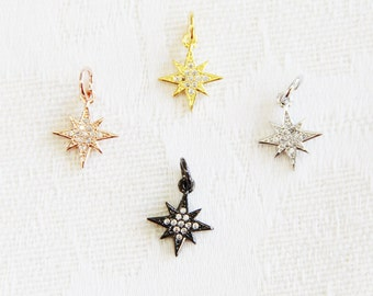 CZ Micro Pave 12mm Starburst  Charm with Jump Ring