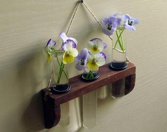 Hanging test tube vase - oak