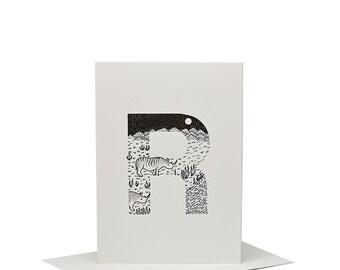 R for Rhinoceros - Letterpress Print