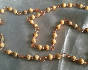 Man's copper necklace, Gift for him or her, beaded necklace, wire wrap with Grain Stone beads, adjustable length (#1428)