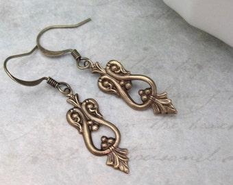 ON SALE Art Deco Earrings, Boho Bohemian Dainty dangle drop Steampunk wedding bridal Jewelry