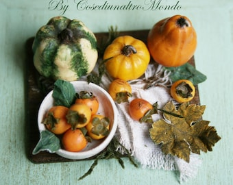 """Dollhouse Miniatures"""" Chopping board with persimmons and pumpkins""""  Artisan Handmade Miniature in 12th scale. From CosediunaltroMondo"""