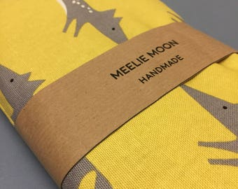Wheat bag- Yellow - Grey Fox- Wheat Pack, Scandi Fox fabric, Heat bag, heat pack, reuseable,Made in Cornwall.
