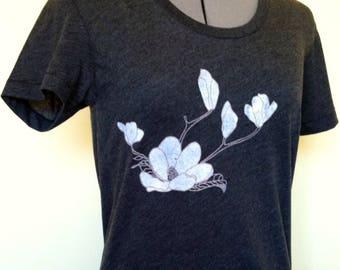 Womens Shirt, magnolia shirt, magnolia, heather black t-shirt,floral, screen print, flower tshirt
