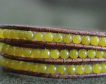 Olivine Leather Wrap Bracelet - Green Wrap Bracelet - Green Bracelet - Olivine Bracelet (B124)