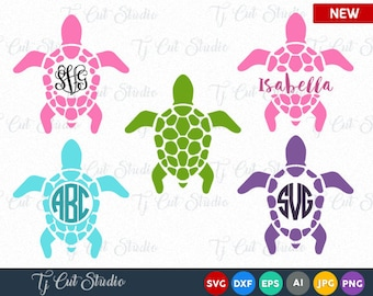 Sea Turtle Monogram SVG, Sea Turtle SVG,Sea Turtle SVG, Sea Turtle Silhouettes Sea Turtle Monogram, Svg, eps, Silhouette Files, Cricut Files