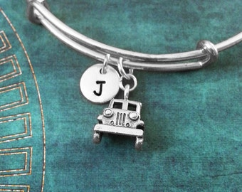 Truck Bangle Bracelet Trucker Bracelet Truck Jewelry Silver Truck Charm Bracelet Stackable Bangle Adjustable Bangle Personalized Bangle