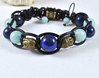 lapis lazuli amazonite Buddha-leather black bracelet