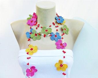 Beaded Crochet jewelry/crochet pendant / crochet necklace/ with beads