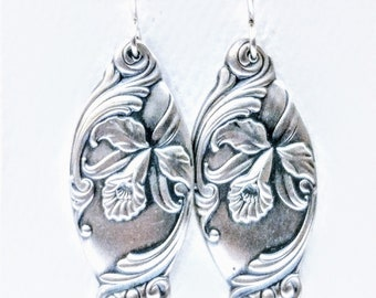 Orchid Dangle Spoon Earrings, Floral Design, Sterling Silver Spoon Earrings, Unique Gift for Her, Eco Friendly, Handcrafted Jewelry (7069)