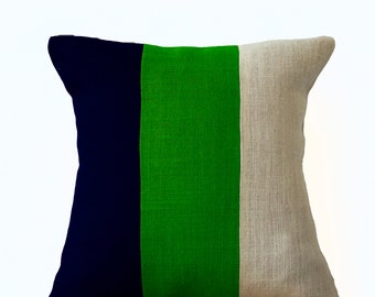 Modern Colorblock Pillow, Navy Green and white Burlap Throw pillow, Couch Pillow, Modern Decor, Housewarming Gift, Green Decor, Navy Decor