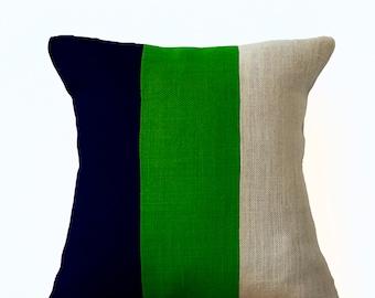 Modern Colorblock Pillow, Navy Green and white Burlap Throw pillow, Couch Pillow, Modern Decor, Housewarming Gift, Green Decor, Navy Decor