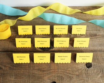 yellow printed place cards for wedding, shower, party set of 100 - delaney