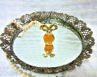 Vintage Mirror Round Gold Tone Metal Vanity Tray or Wall Decor Perfume Jewelry blm