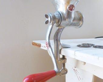 Vintage Spong meat grinder, vintage kitchen, red handled, meat grinder, vintage appliance, hand crank, wedding present, housewarming gift