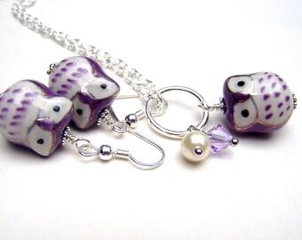 Little Purple Owl Necklace Girls Owl Jewelry Set