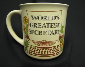Vintage World's Greatest Secretary Coffee Mug Tea Cup Typewriter Made In Japan