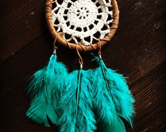 Tan and green MINI DREAMCATCHER boho chic room decor dorm brown feathers teal small tiny dream catcher