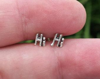 Vintage 925 Sterling Silver Hi Stud Earrings