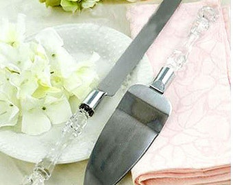 Elegant Wedding Party Cake Knife and Server Set with Faux Crystal Handle