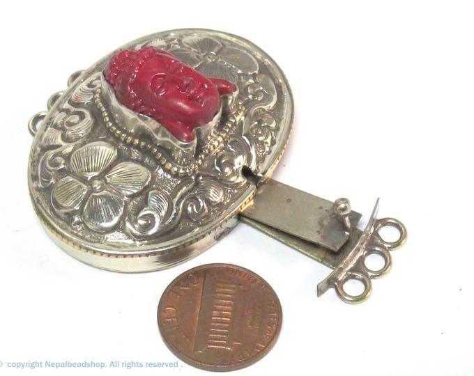 1 clasp - Large oval shape  ethnic Tibetan silver finish red buddha box clasp pendant from Nepal - LN039B