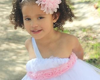 Light Pink Flower Headband, Flower Girl Headband, Light Pink Headband, Pink Flower Girl Headband, Easter Headband, Pink Newborn Headband