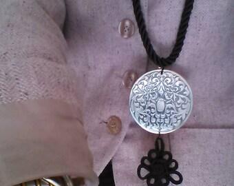 Necklace Elegant  Trimming  Black Cord with Metal Pendant  Black Tassels Adjustable